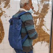 S., from Syria, shows a backpack he made of old jeans, as part of the Circular Fashion Workshop, which took place on the 26, 28 and 30th of July 2021 in Lisbon, Portugal.