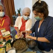 Trainers cooking together with Trainees, as part of the Workshop on Sustainable Cooking, which took place on the 15, 16 and 18th of June 2021 in Lisbon, Portugal.