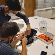 Trainees repairing a coffee machine, as part of the Workshop on Repair, which took place on the 5, 7 and 9th of July 2021 in Lisbon, Portugal.